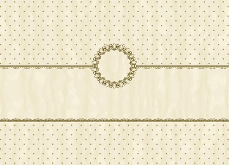victorian wallpaper: Vintage frame on polka-dot background in retro style Illustration