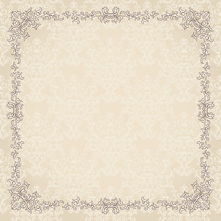 renaissance art: Vintage background with damask pattern in retro style