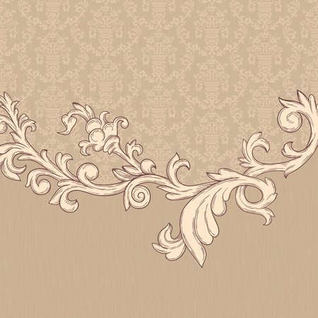rococo: Vintage background with damask pattern in retro style