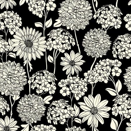 Bloemen naadloze patroon met de hand getekende bloemen. Zwart en wit Stock Illustratie