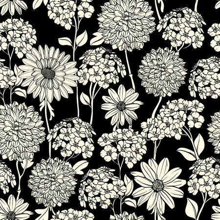 Floral seamless pattern with hand drawn flowers. Black and white Vettoriali