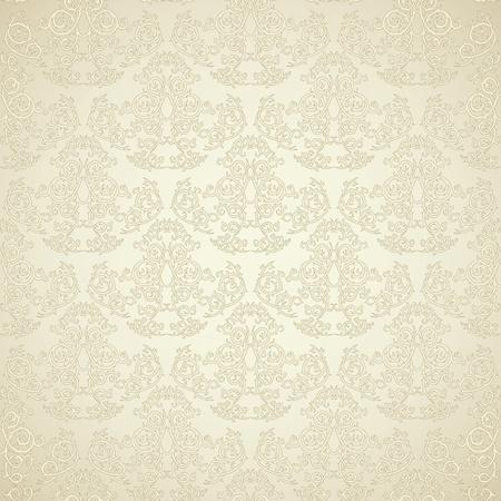 beige stof: Damask naadloze behang op beige achtergrond. Stijlvol en luxuryz Stock Illustratie