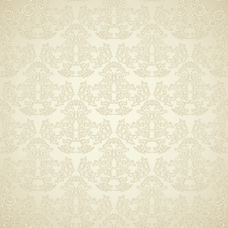 damast: Damast nahtlose Tapeten auf beigem Hintergrund. Stilvoll und luxuryz Illustration