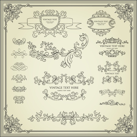 baroque border: Collection of calligraphy design elements. Frames, page diveders, borders, etc