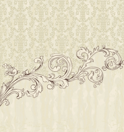 renaissance art: Detailed vintage card with damask wallpaper on beige grunge background