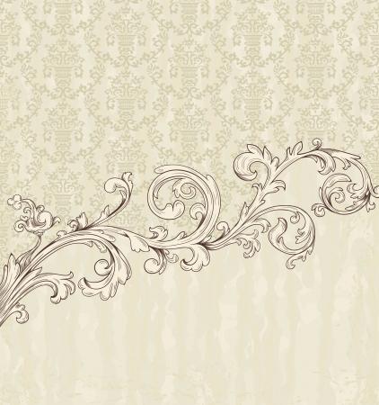 Gedetailleerde vintage kaart met damast behang op beige grunge achtergrond