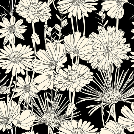 Floral seamless pattern with hand drawn flowers. Black and white Stock Vector - 11964903