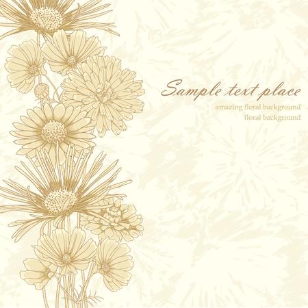Elegant vintage floral background with set of different flowers