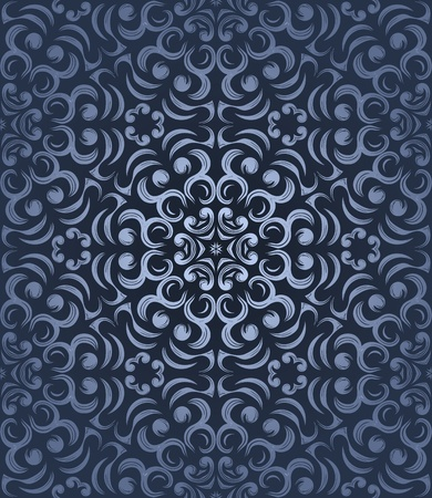 Seamless pattern with curls on gradient background in retro style; Vector