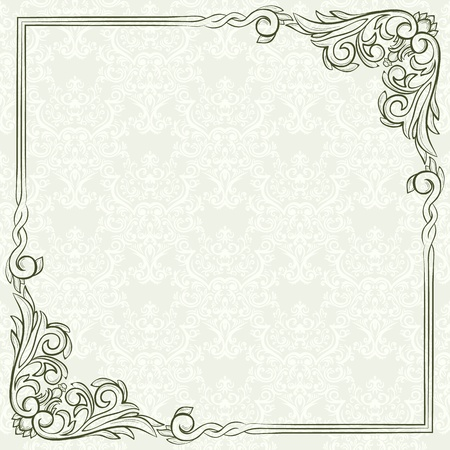 Retro frame on seamless  vintage background Vector