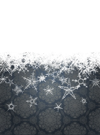 Christmas background with set of cute white snowflakes Vector