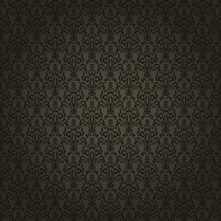 gold textured background: Damask seamless wallpaper on dark  background. Stylish and luxury