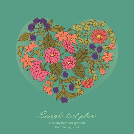 valentine greeting card with heart from flowers Vector