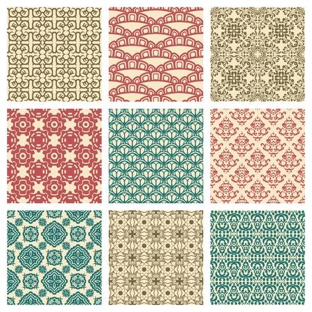 복고 스타일의 아홉 원활한 패턴의 설정 일러스트
