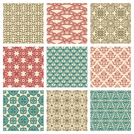 pattern: Reeks van negen naadloze patroon in retro stijl Stock Illustratie