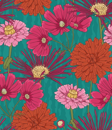 flowers close up: Floral seamless pattern with hand drawn flowers.