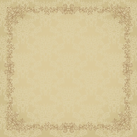 vintage: Vintage background with damask pattern in retro style