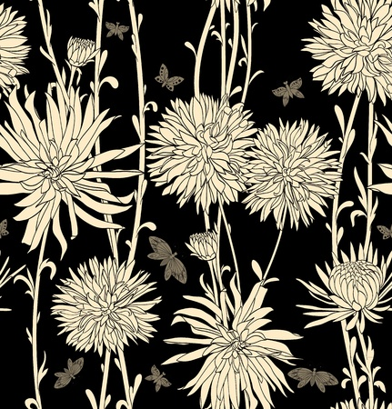 textile image: Floral seamless pattern with hand drawn flowers. Black and white Illustration