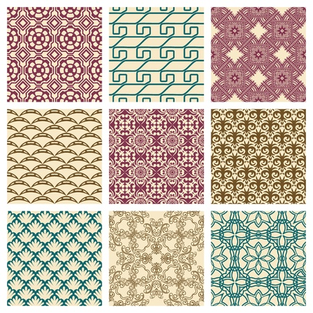 Set of nine seamless pattern in retro style Stock Vector - 12217755