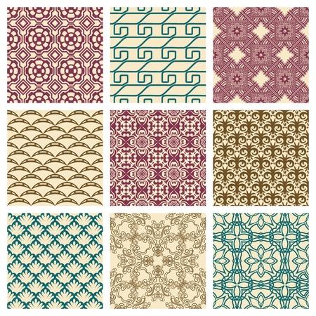 modular: Set of nine seamless pattern in retro style Illustration