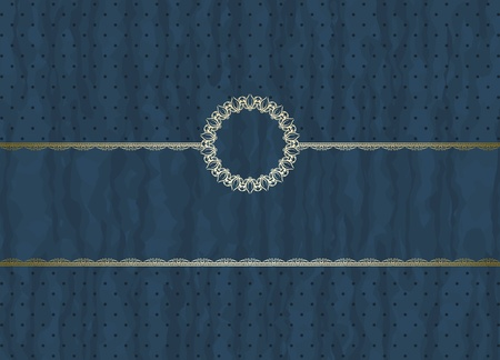 Detailed retro frame on  polka-dot beige background Vector