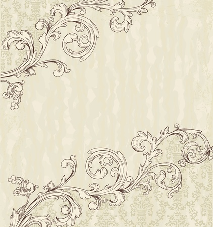 vignette: Detailed vintage card with damask wallpaper on beige grunge background