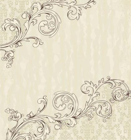 barok ornament: Gedetailleerde vintage kaart met damast behang op beige grunge achtergrond