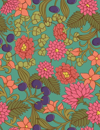textile image: Cute seamless floral pattern with leafs and berries