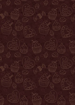 Seamless pattern with cupcakes,candies and other sweet and tasty food Vector