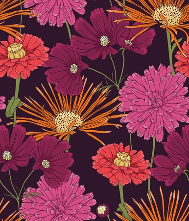 white silk: Floral seamless pattern with hand drawn flowers. Illustration