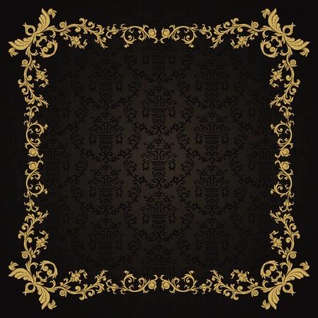 レトロなスタイルのダマスク織パターンを持つビンテージ背景  イラスト・ベクター素材