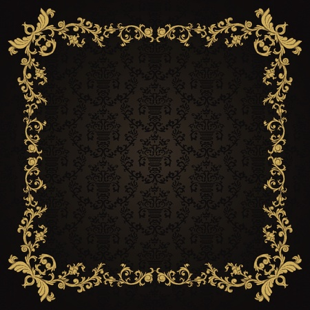 Vintage background with damask pattern in retro style Stock fotó - 12217779