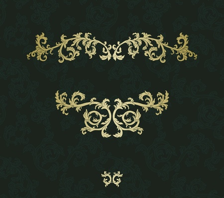 baroque background: Vintage frame with damask seamless background