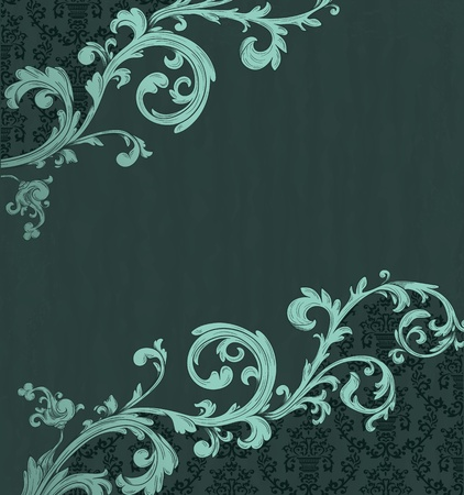 baroque border: Detailed vintage card with damask wallpaper on beige grunge background