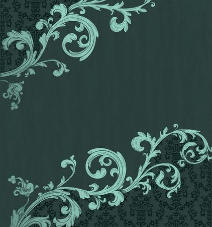 Fiche détaillée vintage avec papier peint de damassé sur le fond grunge beige Banque d'images - 12217784