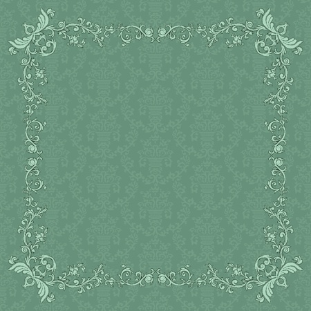 victorian wallpaper: Vintage frame on damask background in retro style