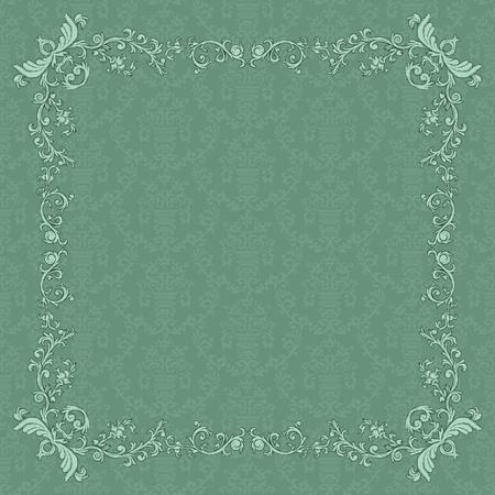 Vintage frame sur fond de damas dans le style rétro Banque d'images - 12217786