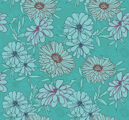 seamless: Floral seamless pattern with hand drawn flowers. Black and white Illustration
