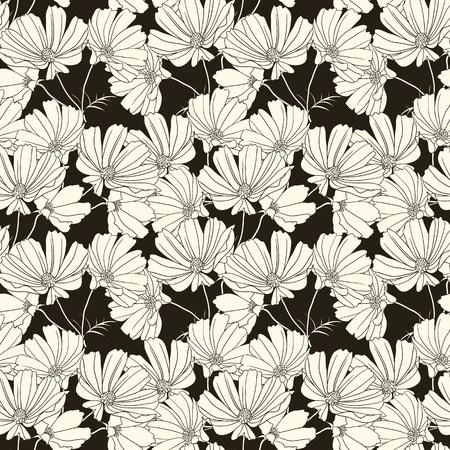 手でシームレスな花柄は花を描画します。黒と白
