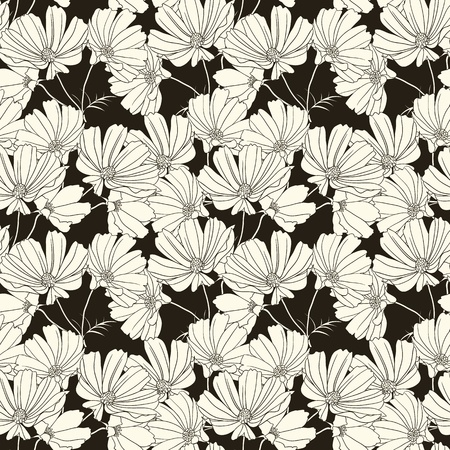 Floral seamless pattern with hand drawn flowers. Black and white Çizim