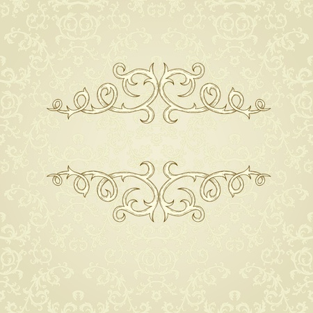 beige: Vintage background with damask pattern in retro style