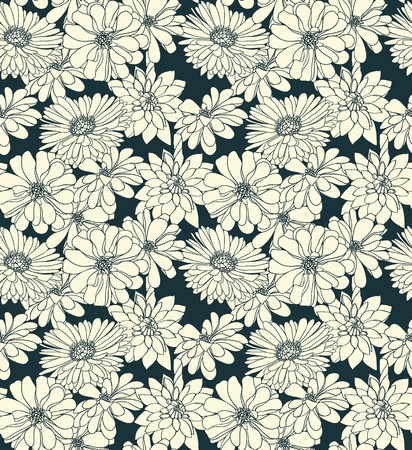 Floral seamless pattern with hand drawn flowers. Black and white Ilustrace