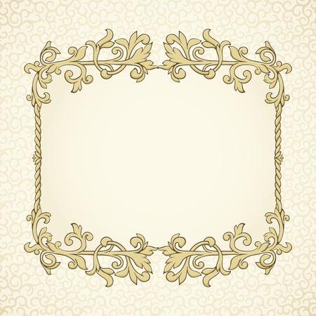 Fondo de la vendimia con el modelo del damasco en estilo retro Foto de archivo - 12484495