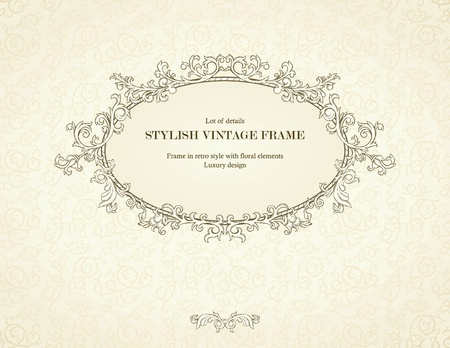 Vintage frame on seamless damask background. Stock Vector - 12484507