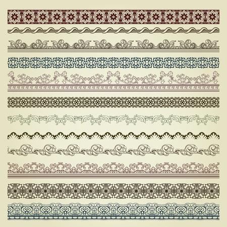 Set of vintage borders. Could be used as divider, frame, etc Illusztráció