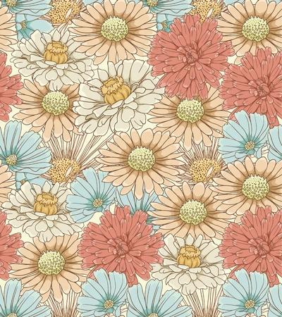 손으로 그린 꽃과 함께 꽃 원활한 패턴