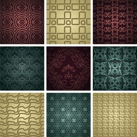 Set of nine seamless pattern in retro style Vettoriali