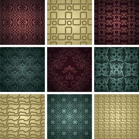 tilable: Set di nove seamless pattern in stile retr�