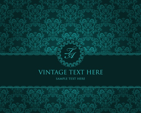 Detailed vintage card with damask wallpaper on beige grunge background