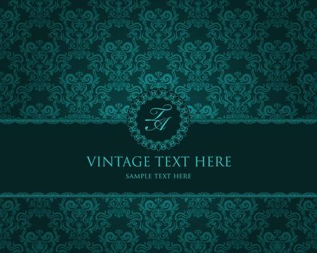 baroque: Ficha detallada de la vendimia con damasco de fondo de pantalla en fondo del grunge de color beige Vectores